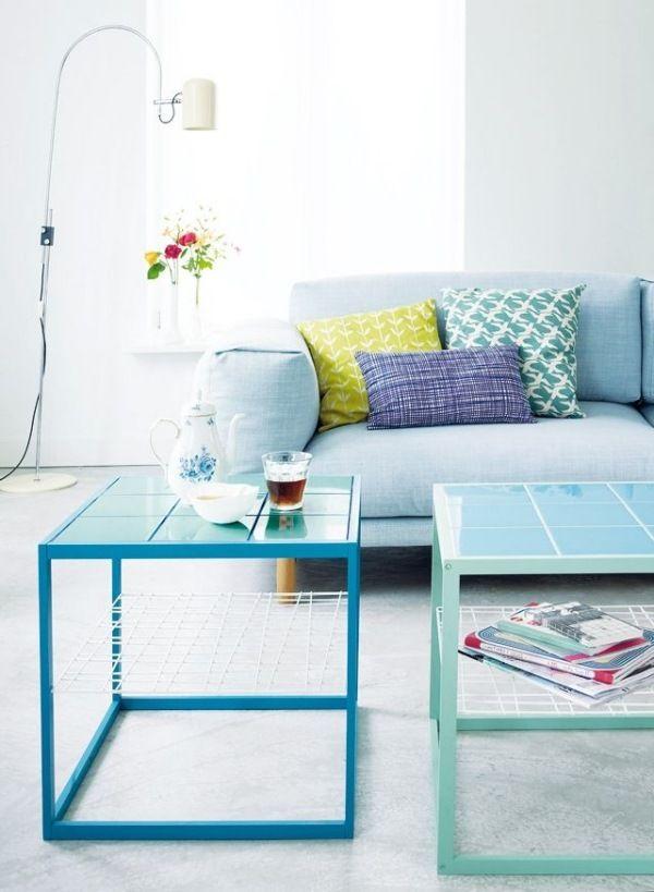 wohnzimmer farben ideen kopfkissen blau kaffeetische teppich ... - Wohnzimmerfarben