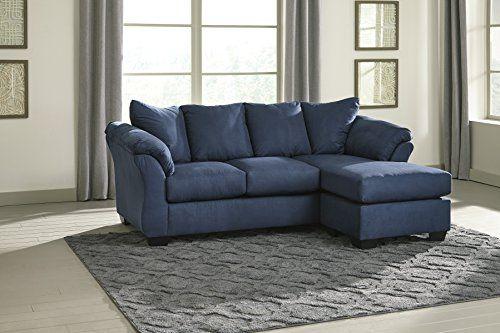 Darcy Contemporary Blue Color Microfiber Sofa Chaise - Blue Microfiber sofa