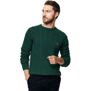 01943eb7308 Gant Men's Lambswool Cable Crew neck Jumper Bottle Green Melange ...