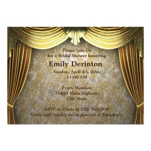 Curtains Ideas art deco curtains : Golden Art Deco curtains wedding opulence bridal shower invitation ...