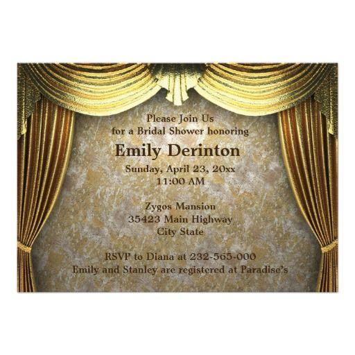 Curtains Ideas art deco curtains : Golden Art Deco curtains wedding opulence bridal shower invitation ...