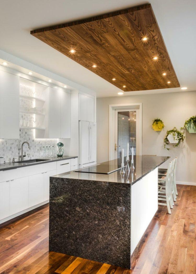 arbeitsplatte-granit-kueche-modern-parkettboden-weiss-abgehängte ...