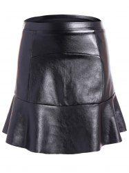PU Leather Flounce Ruffles Bodycon Skirt