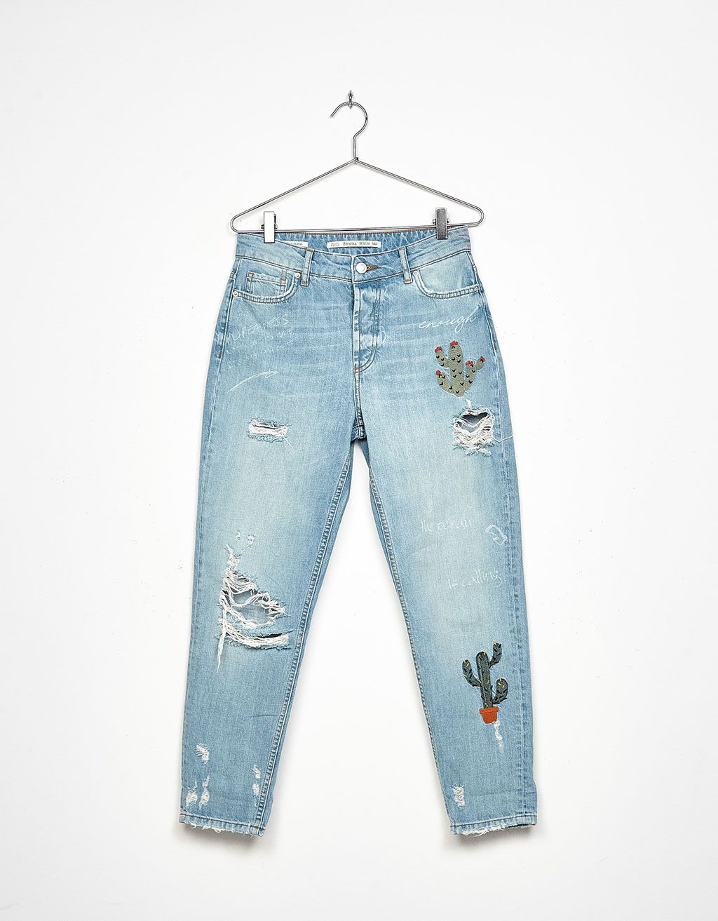 10c92800f8 Relaxed fit jeans with cactus embroidery - Jeans - Bershka Ukraine
