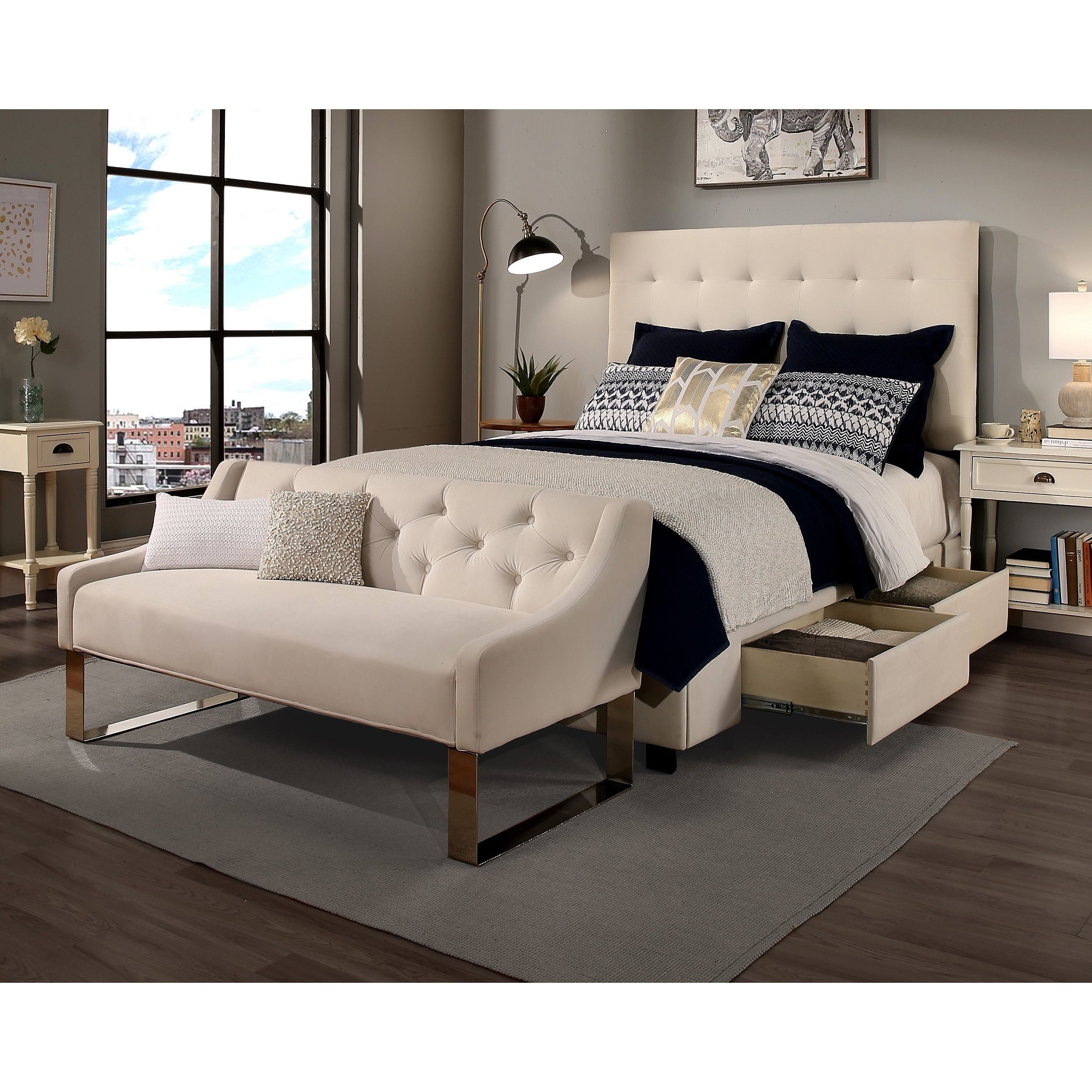 Republic Design House Manhattan Kingcal King Size Ivory Tufted Storage Bed