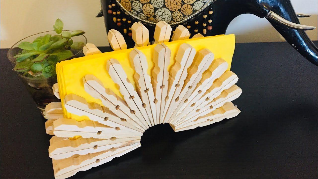 فكرة ستاند نابكن من مشابك الغسيل حامل مناديل النابكن اصنعيها بنفسك Napkin Holder Idea Youtube Napkin Folding Home Appliances Hand Fan