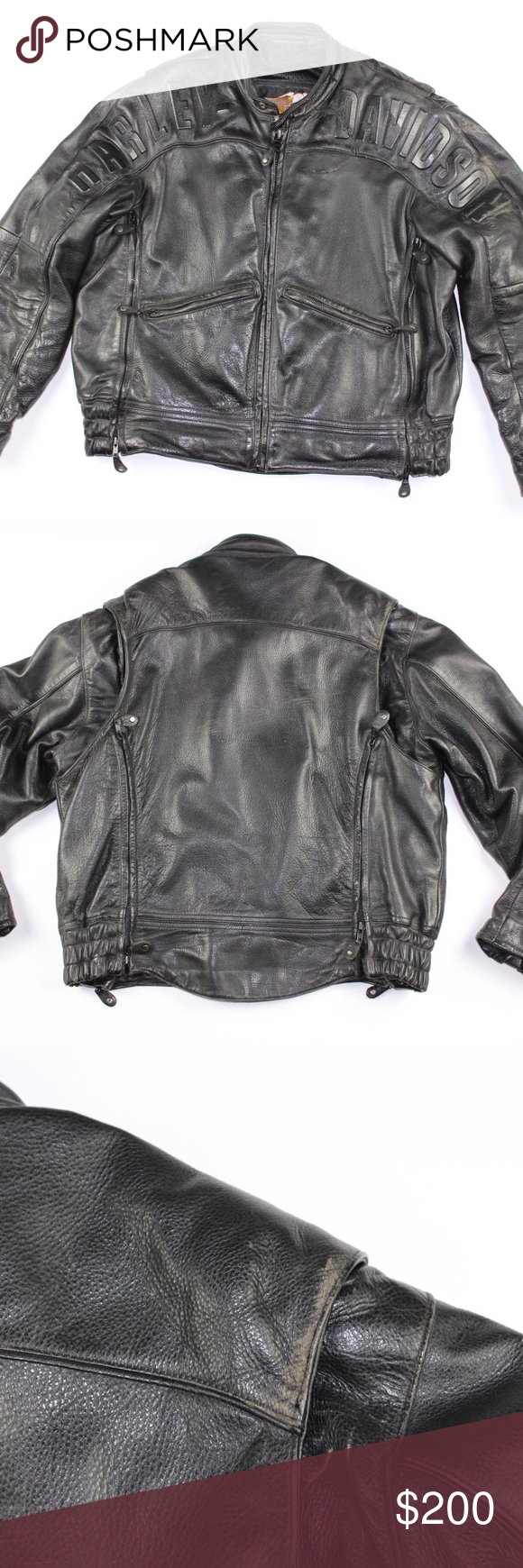 Vintage Harley Davidson Leather Motorcycle Jacket Vintage
