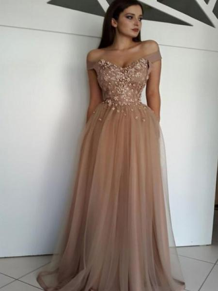 A-line Off-the-shoulder Brown Prom Dresses Tulle Lace Evening Gowns ... 0bb60a15e