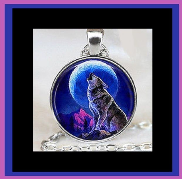 New wolf howling at full blue moon glass optic picture pendant new wolf howling at full blue moon glass optic picture pendant necklace handmade aloadofball Images