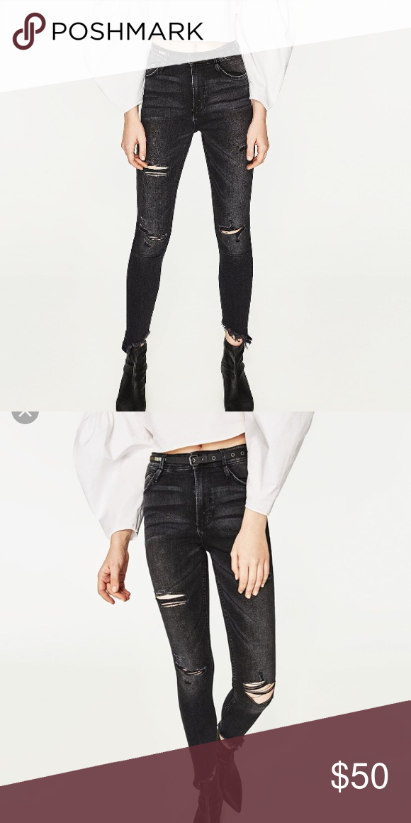 7b5b3d2d Zara highrise skinny fit power stretch black jeans Zara high waisted ...