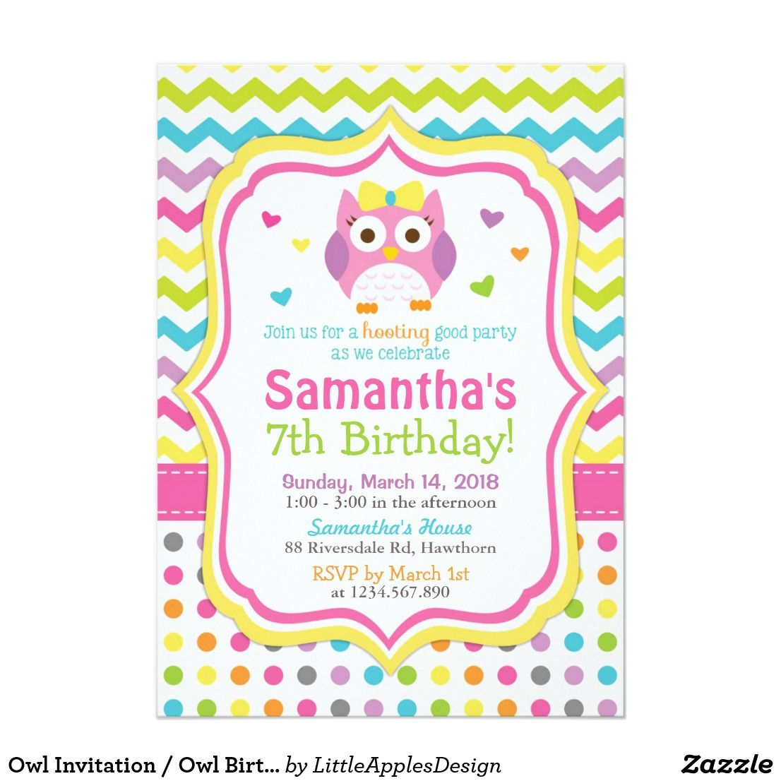 Owl Invitation Owl Birthday Invitation Invite This listing is