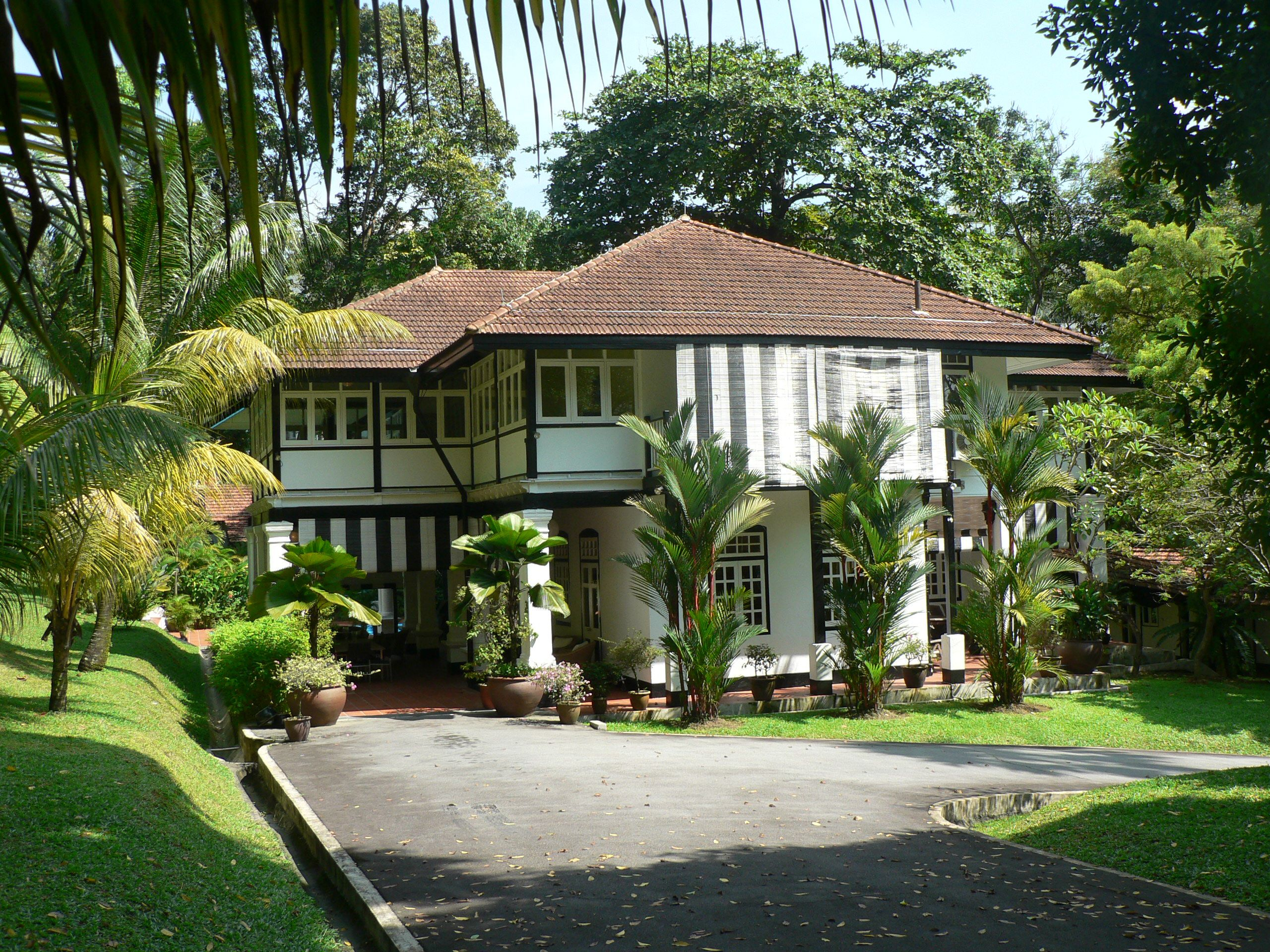 British Colonial Black And White Bungalow Singapore