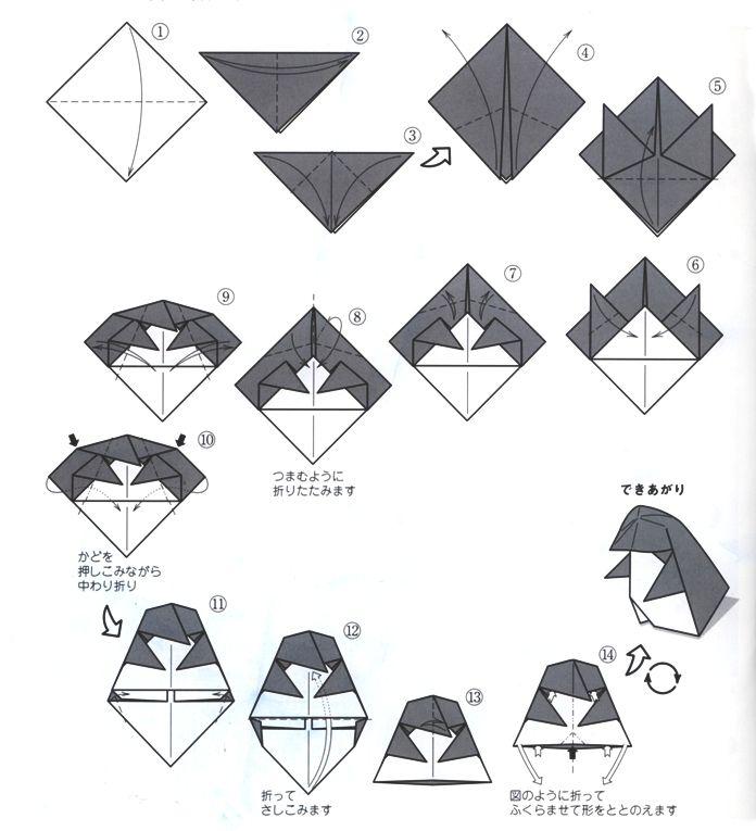 ペンギンの折り方解説   折り紙   Pinterest   折り方、ペンギン ...