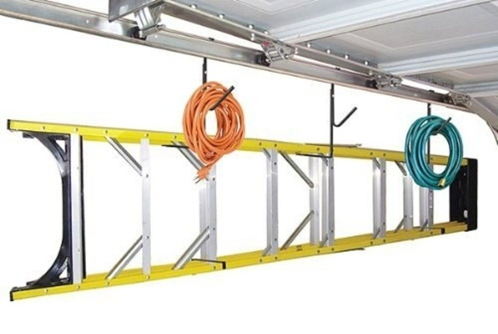 Use Your Garage Door To Store Your Ladder And Electrical Cords With Easily Attachable Hooks Garage Storage Garage Decor Garage Organization