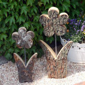 Blume rustikal gr e 2 h he 60 cm holzdeko i ky for Gartendeko aus birkenholz