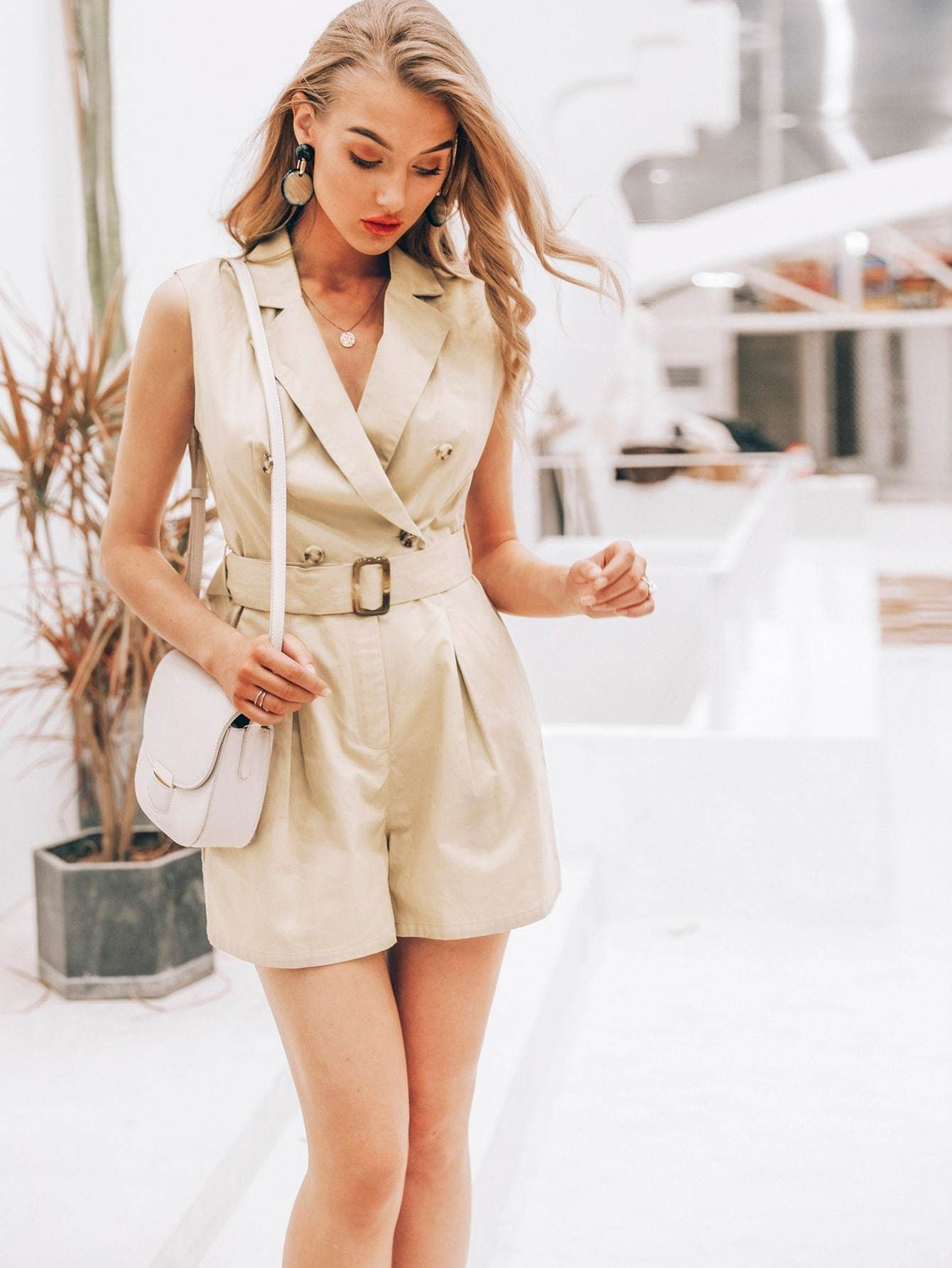 0992e95f5b Notch Collar Buckle Belted Blazer Romper - Popviva #summer #year #fall  #spring