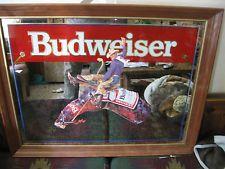 Rare Vintage Large Western Rodeo Budweiser Mirror
