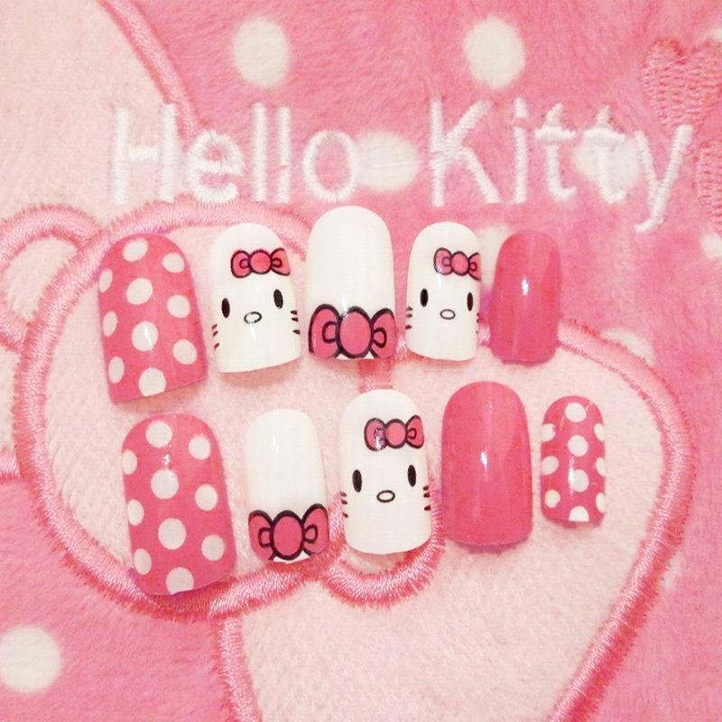 Goodtake Hello Kity Full Sizes 24pcs Acrylic Full Cover Nail Tips