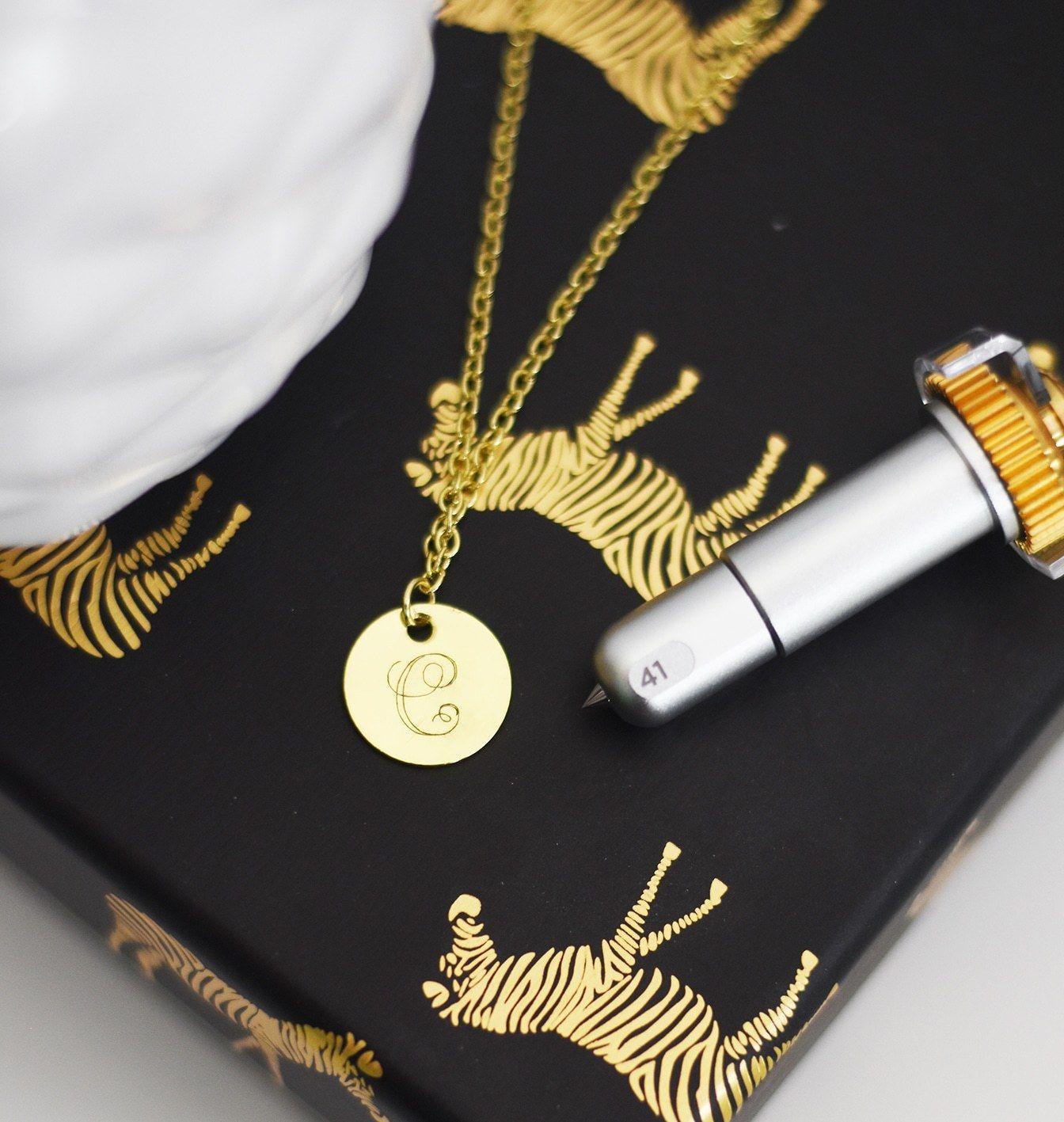 Cricut engraving tool monogram necklace tutorial