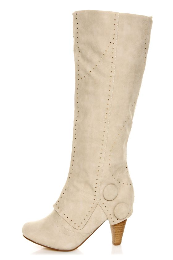 Not Rated Unofficial Cream Perforated Foldover Knee High Boots ...