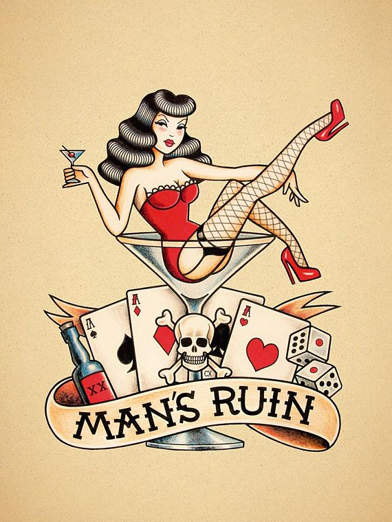 ruin of man old school tattoo pin up tattoo martini glass girl tattoo 8 x10 tattoos. Black Bedroom Furniture Sets. Home Design Ideas