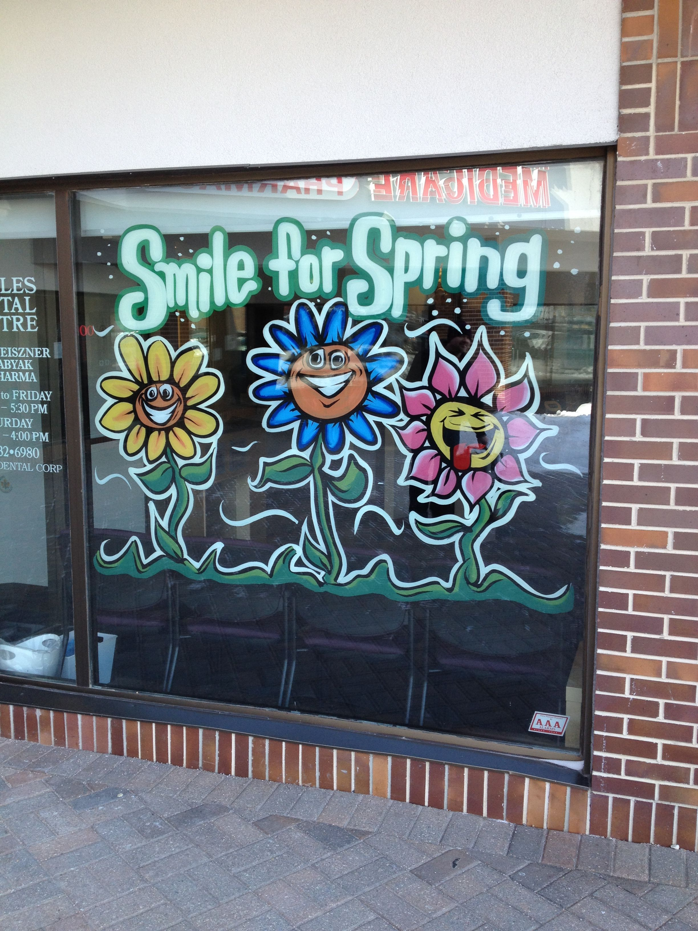 Spring Flowers Window Painting
