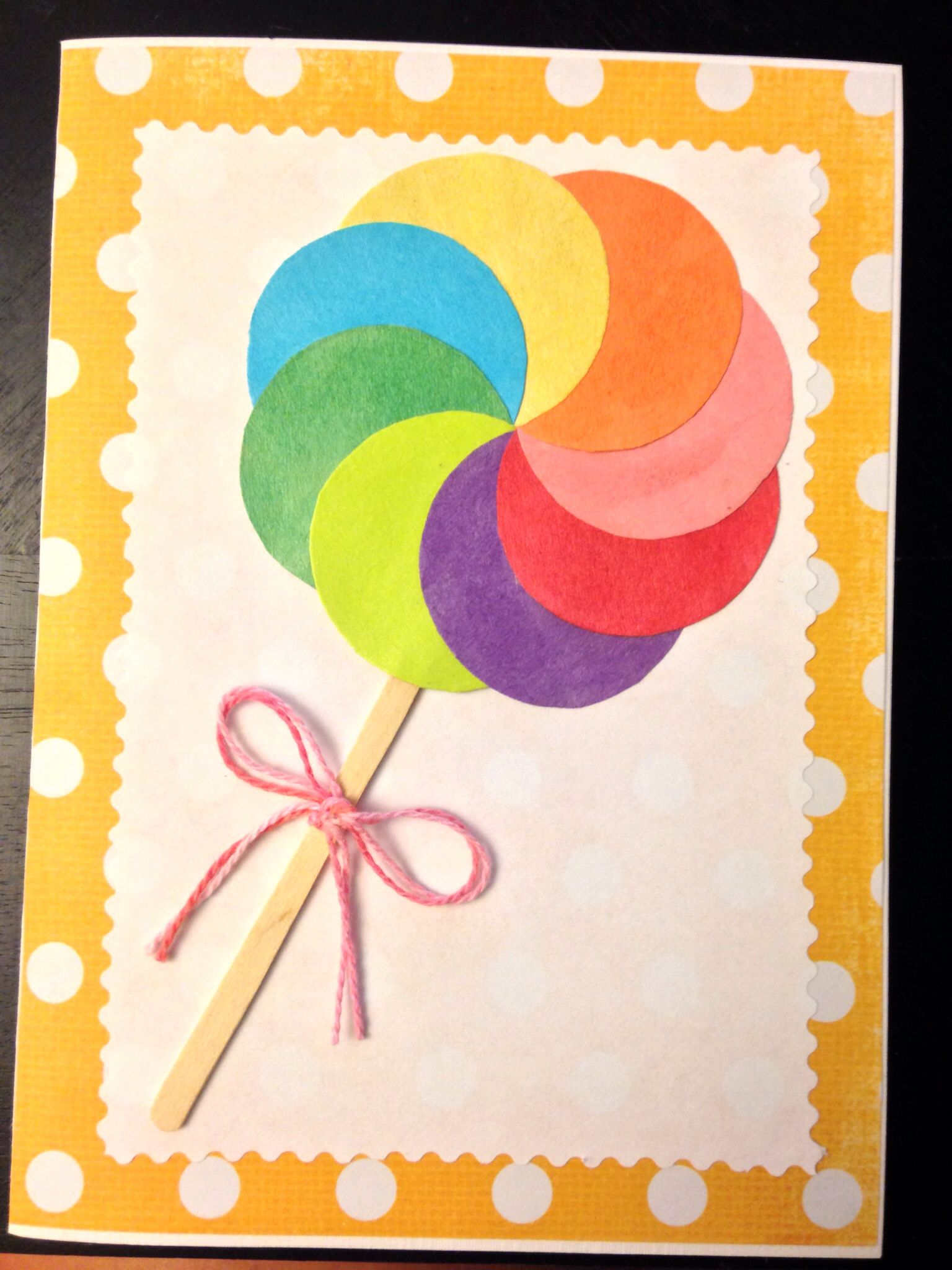 Diy Greeting Card Paper Lollipop With Mini Popsicle Stick My
