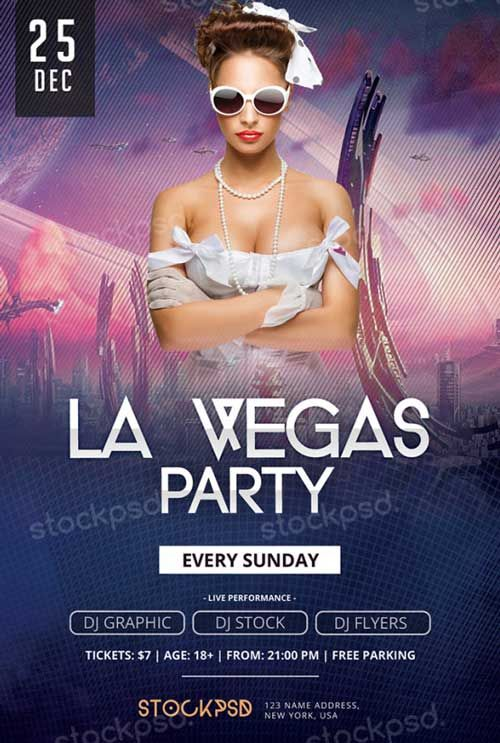 La Vegas Party Free Psd Flyer Template - Http://Freepsdflyer.Com