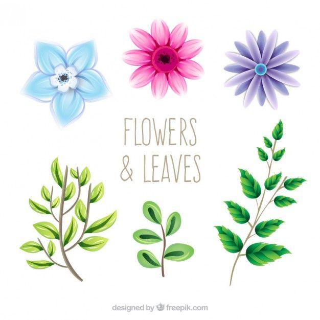 Bonitas flores y hojas dibujadas a mano Vector Gratis  vectores