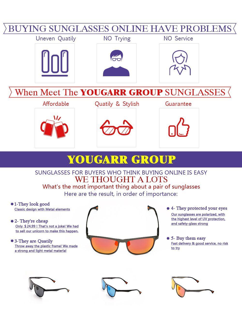 dcbe8ac21d905 Yougarr Group Retro Wayfarer Sunglasses Polarized Metal Frame Classic  Vintage Design for men women Black Len