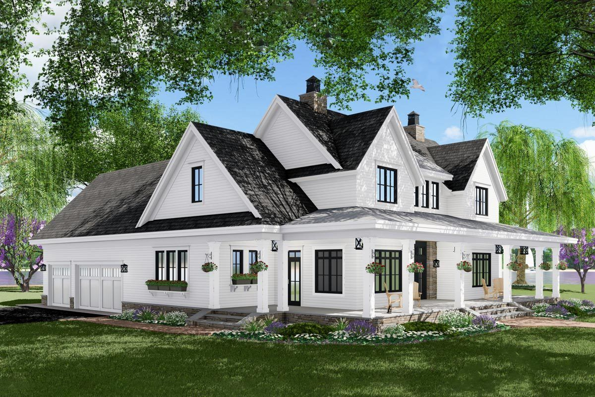 3bed modern farmhouse plan with french door greeting
