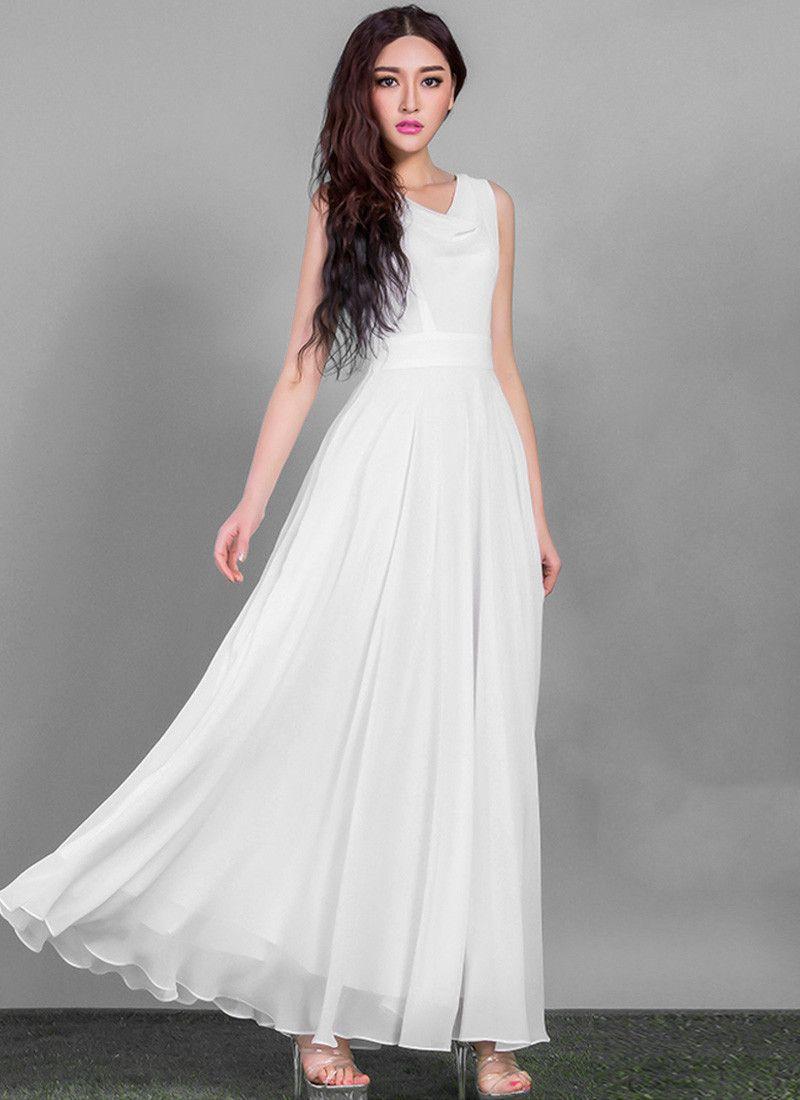 1b7a82a8af6f White Chiffon Maxi Dress with Slightly Draped V Neck RM612 | Twirly ...