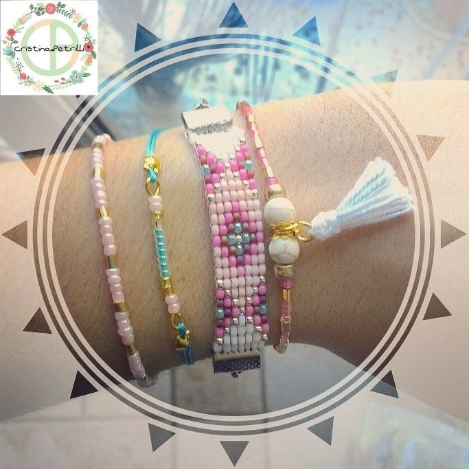 Mini braccialetti di perline + bracciale in Micro-Macramè