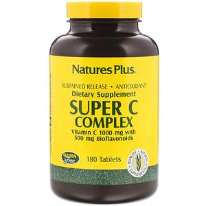 Nature S Plus 수퍼 C 콤플렉스 비타민 C 1000 Mg 500 Mg 바이오플라보노이드 함유 180 정 Vitamins Vitamin C Natural Supplements