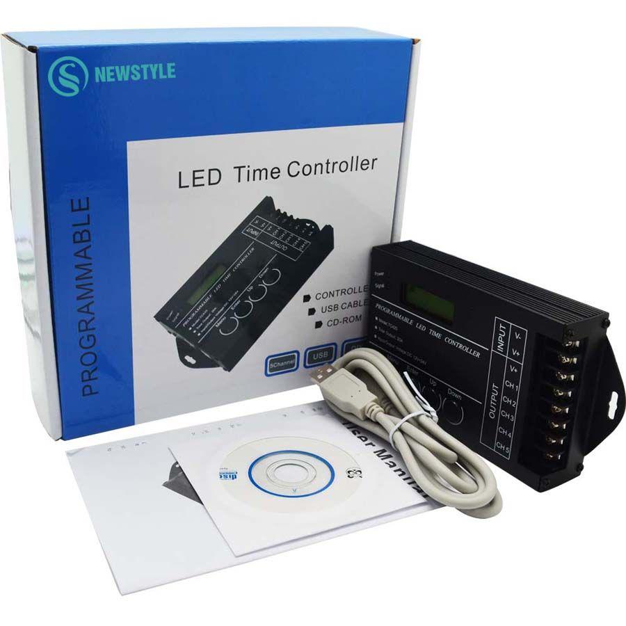 Tiempo programable RGB LED Controlador TC420 DC12V/24 V de 5 Canales de Salida Total 20A Ánodo Común Programmable Envío Gratis