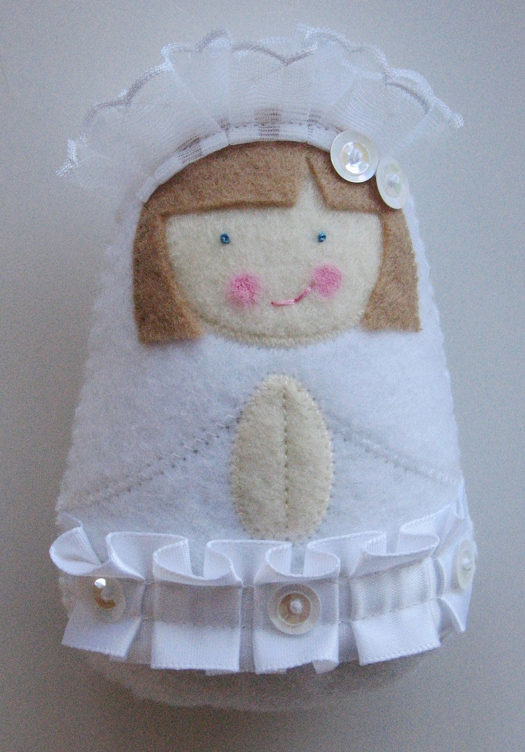 First Communion Felt Softie with personalized colors from SaintlySilver on Etsy. Love the other saints and popes she makes too!