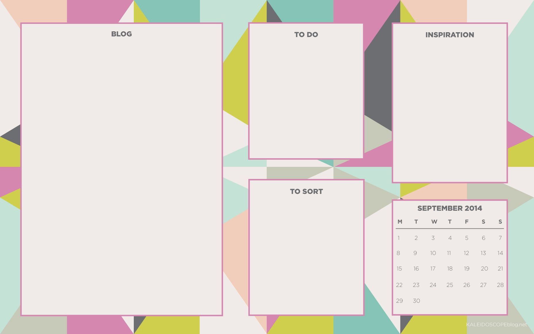September Calendar Blog Desktop Organizer Wallpaper Background