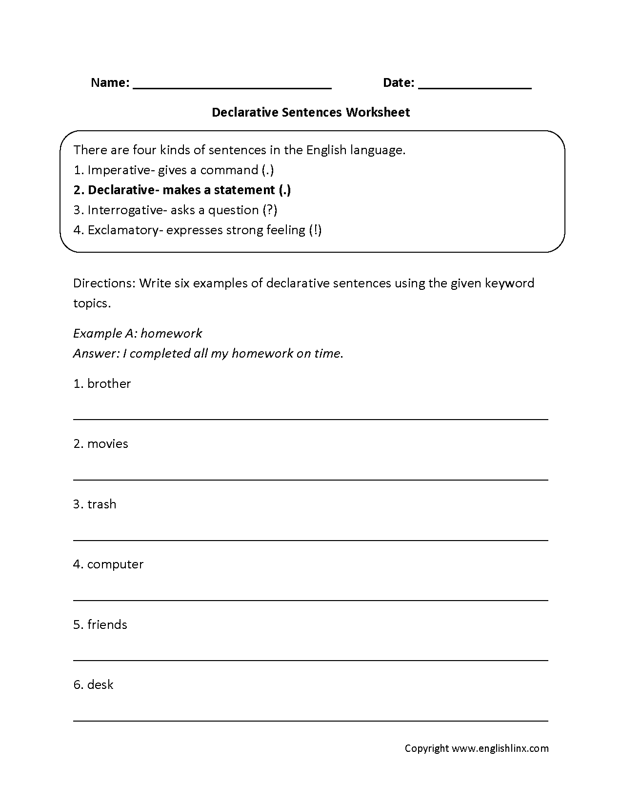Declarative Types Of Sentences Worksheets