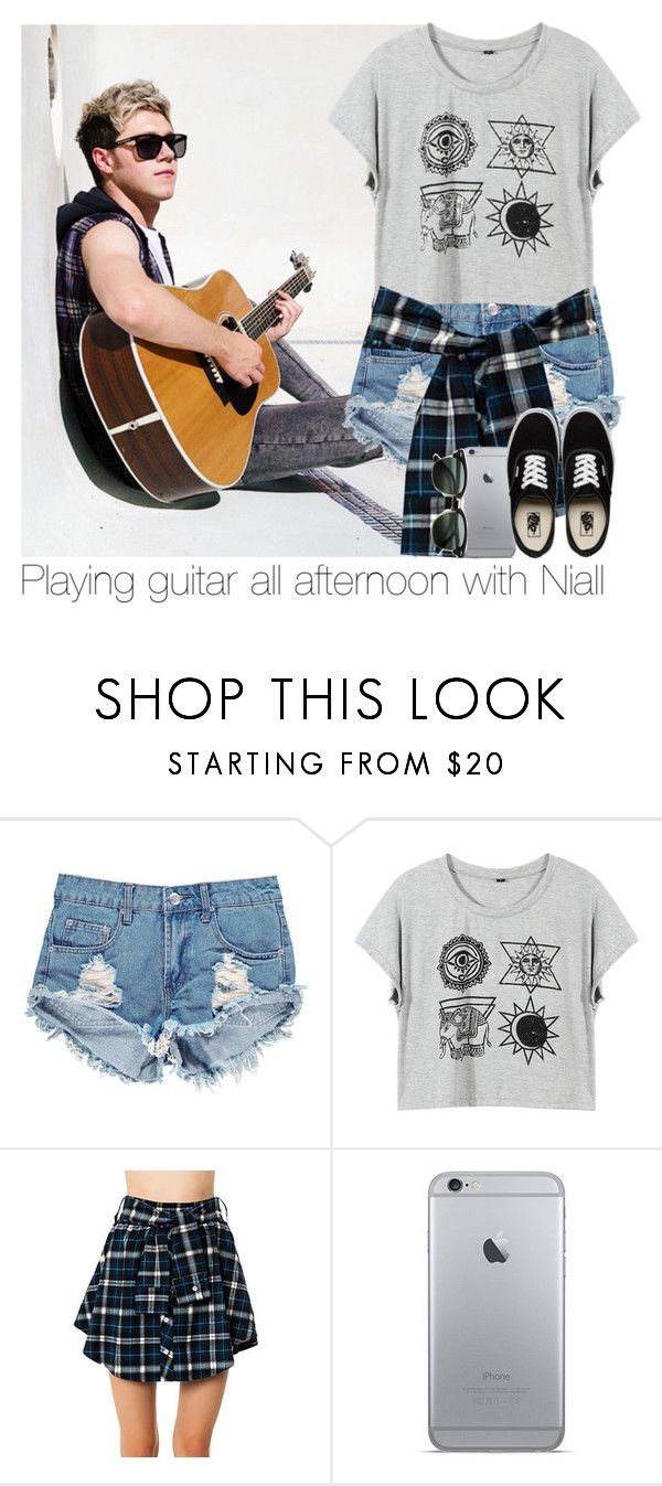 """""""Playing guitar all afternoon with Niall"""" by mmbrambilla ❤ liked on Polyvore featuring Boohoo, Vans and Ray-Ban"""