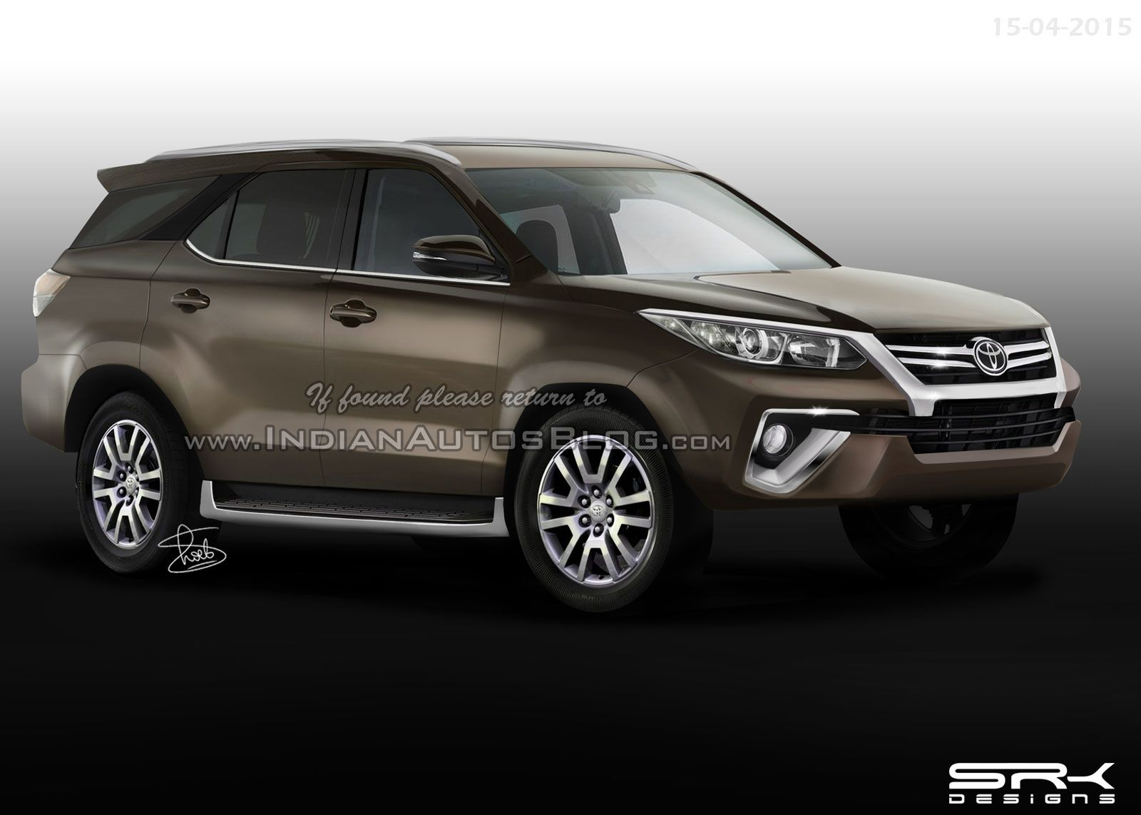 2015 toyota fortuner front artist image from indian autos blog