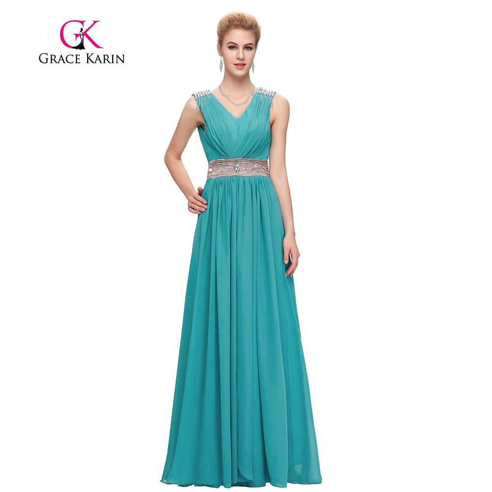 0e45227a010 Grace Karin Evening Dress Long Turquoise Grey Red Party Prom Gowns Elegant  V-neck Empire Crystal Formal Evening Dresses 2017