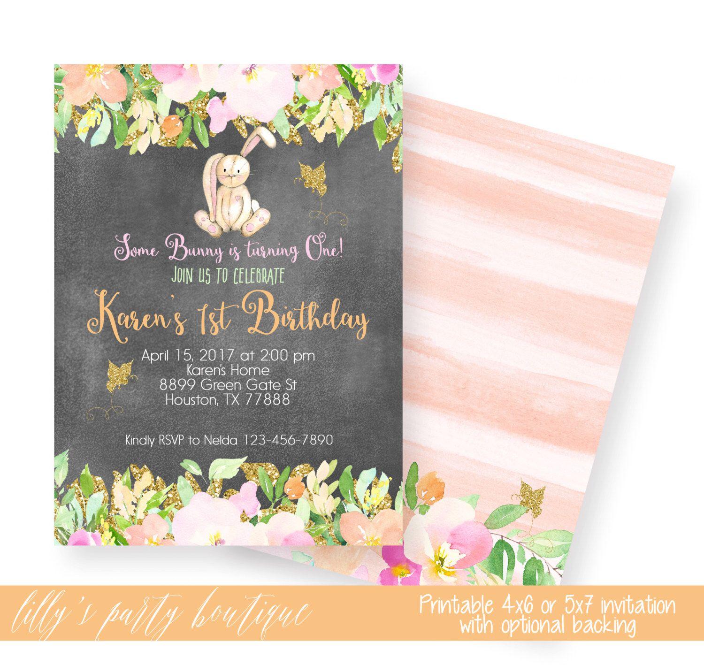 bunny first birthday invites bunny rabbit invitation some bunny