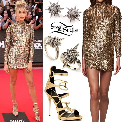 Hailey Baldwin Attended The Much Music Video Awards Today Wearing A Kayat Fall Winter 2016 Dress Not Available Online Stars Earrings 11700 00