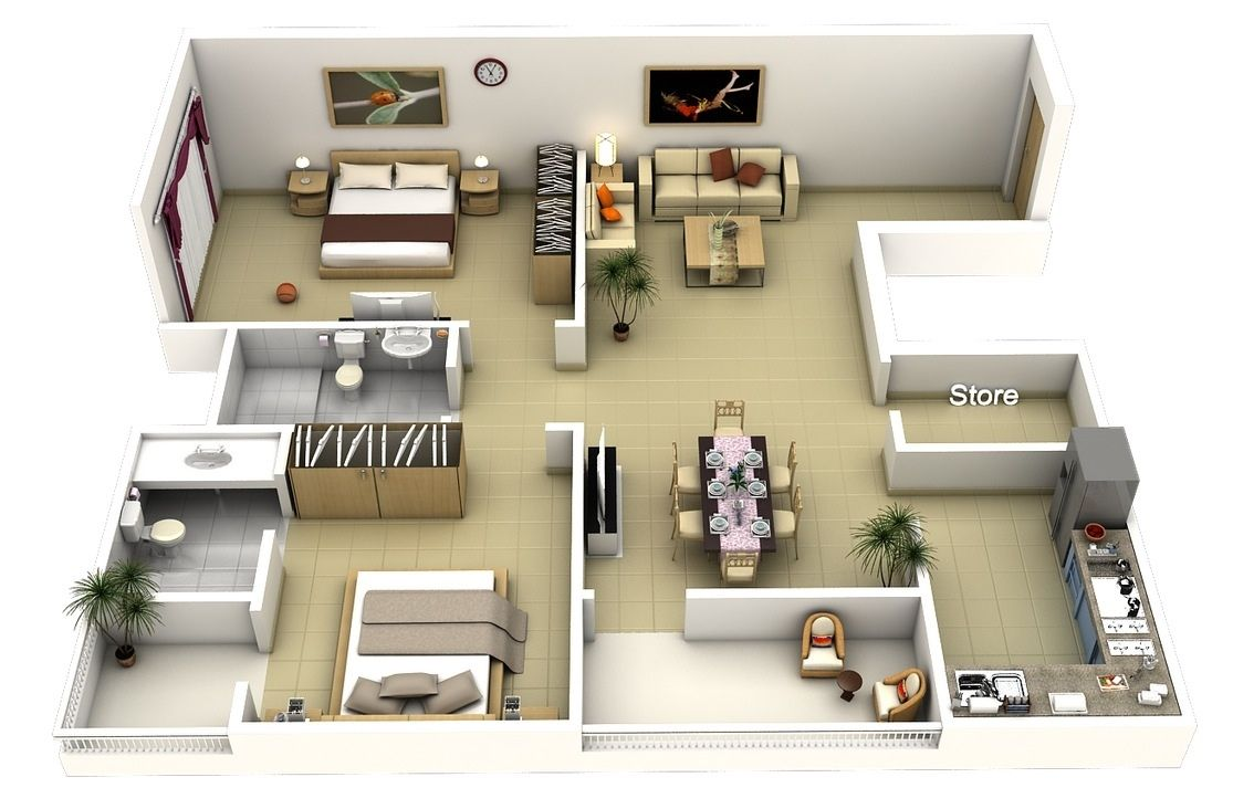 One Bedroom Apartment Plans And Designs Amazing Awesome Two Bedroom Apartment 3D Floor Plans  Httpviajesairmar Inspiration