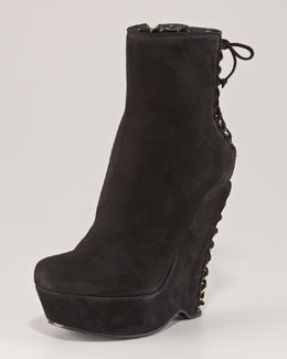 Yves Saint Laurent Leather Wedge Booties for sale cheap price vsUmUV2Kr