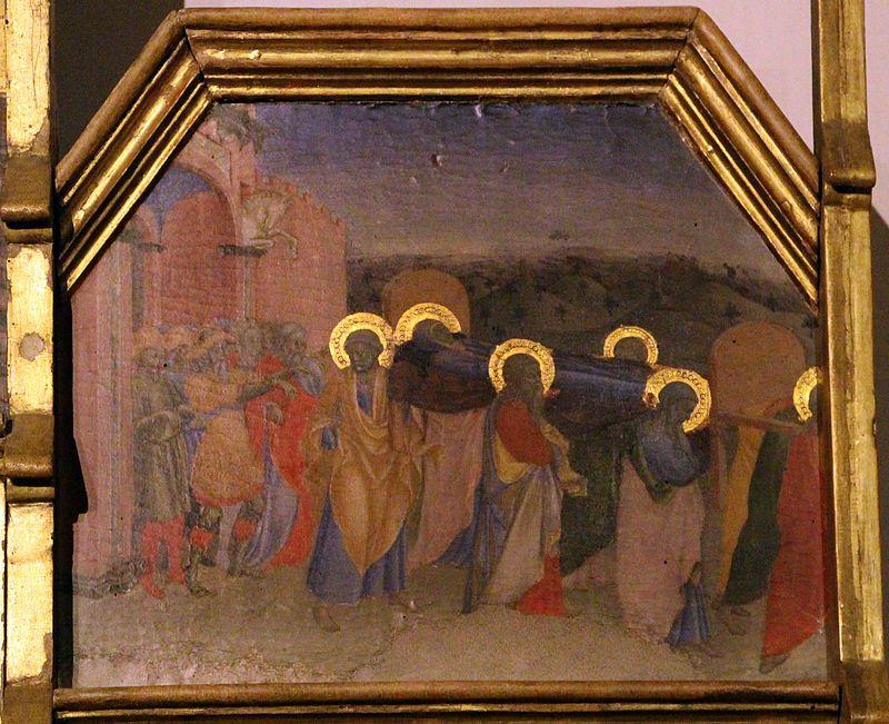 Maestro dell'Osservanza - Funerale di Maria  (dettaglio da Natività di Maria e altre scene della sua vita) - tempera su tavola - 1437-1439 - Museo d'Arte Sacra, Asciano (Siena)