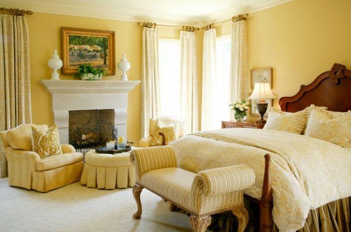 Yellow-victorian-bedroom-design-with-dark-wood-carving-headboard-bed ...