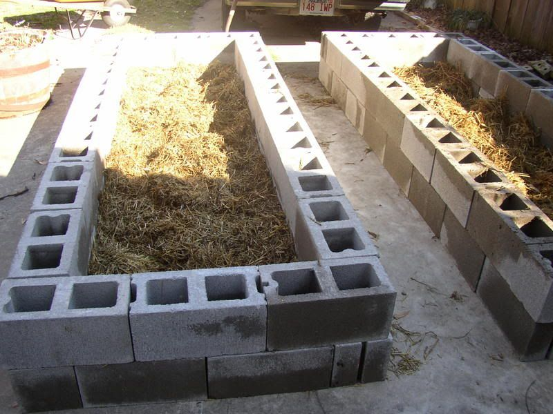 Raised Bed On Concrete Use Rocks Not Hay For Drainage