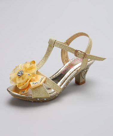 3a9d458d6c42 Love this Gold Glitter Flower Pump by Angels New York on  zulily!   zulilyfinds