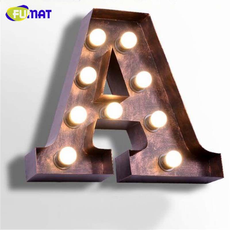Fumat Vintage Letters Lamps Loft Industrial Logo A Wall Sconce Iron Billboard Wall Light Bedroom Bedside L Lamp Installation Bedside Lamps Metal Metal Lighting
